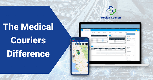 The Medical Courier Difference words on an arrow and then the home page on the screens, and the medical couriers logo