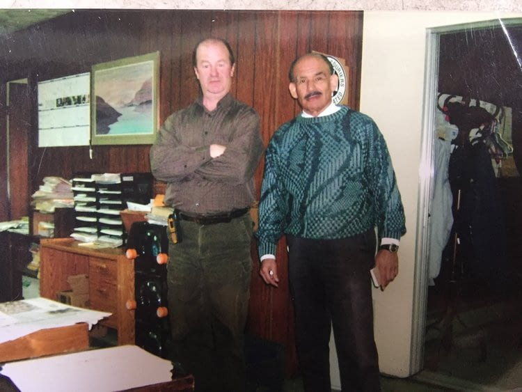 Bill Carty, Driver (left) and Mike Jusino, Route Supervisor (right), 1988